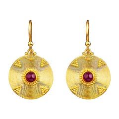 24K Gold Handcrafted Dangle Earrings Adorned with Cabochon Ruby