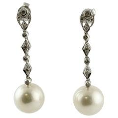 Australian Pearl Diamonds White Gold Fashion Earrings