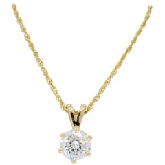 Classic Six Prong Diamond Pendant Necklace