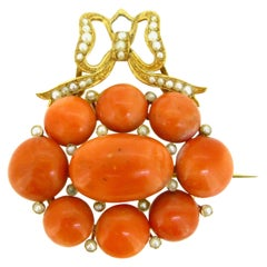 Antique Victorian Coral Beads Seed Pearls Yellow Gold Convertible Brooch Pendant