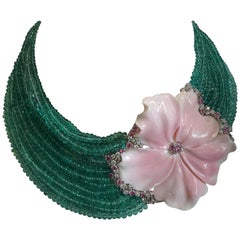 Choker Necklace Pink Shell Flower Emerald Beads Pink and Green Sapphires