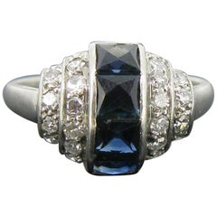 Art Deco French Cut Sapphires Diamonds Platinum Ring