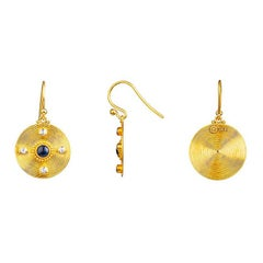24K Gold Handcrafted Dangle Earrings Adorned with Cabochon Sapphire and Diamonds