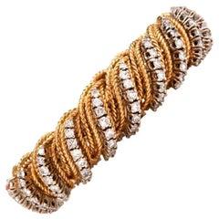 1960s Diamond Gold Flexible Braided Bracelet