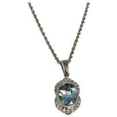 14 Karat White Gold 1.40 Carat Aquamarine and Diamond Necklace