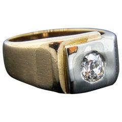 Vintage Diamond Signet Gyspy Yellow White Gold Ring