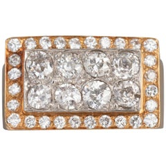 French 1940 Ring, Gold Platinum and Diamonds