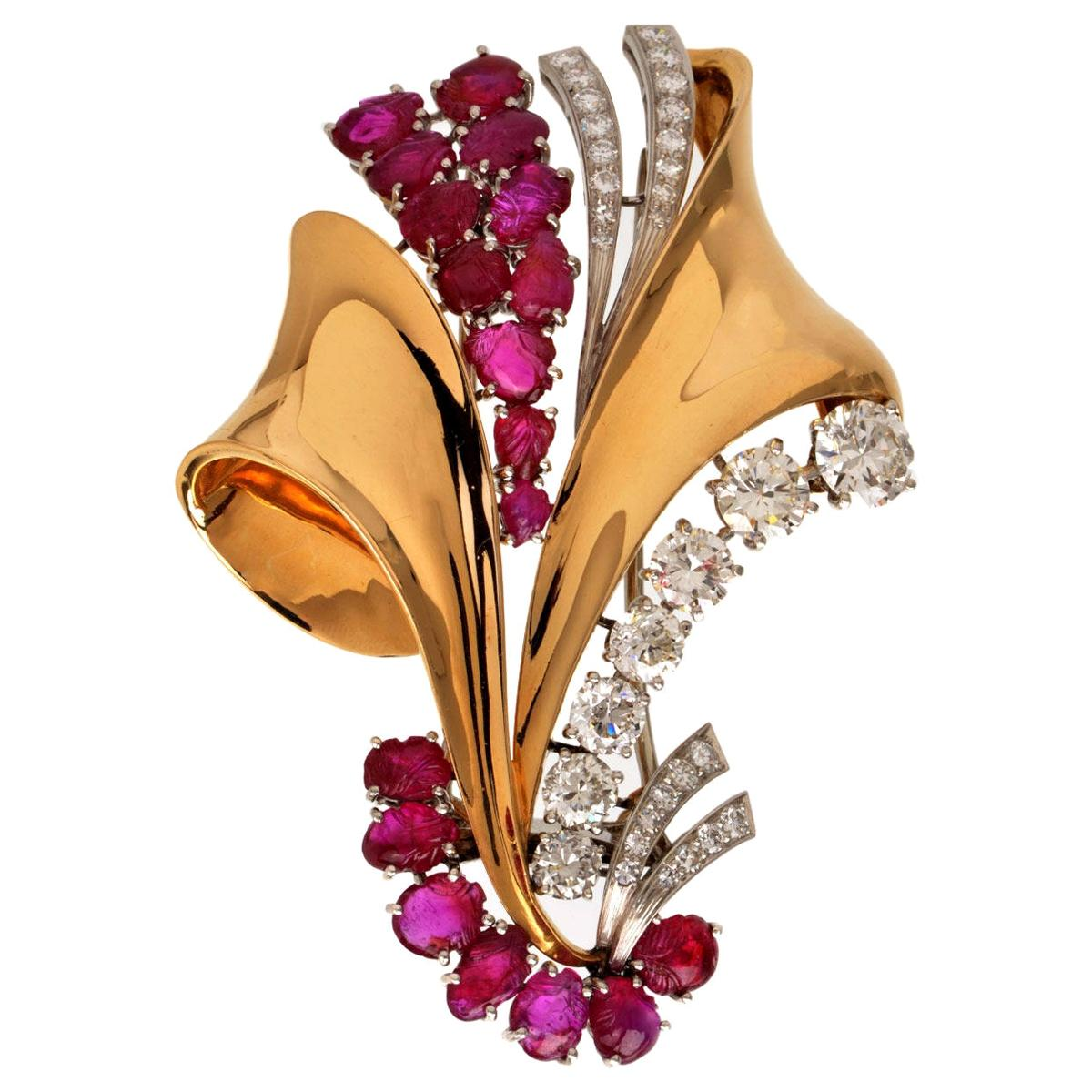 1970s Large Ruby Diamond 18 Karat Gold Pin Brooch