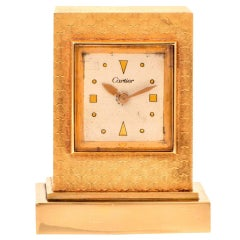 1950s Cartier Gold Eight Day Desk Clock
