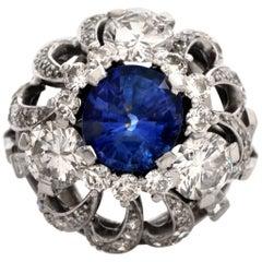 1960s Sapphire Diamond Platinum Cocktail Ring