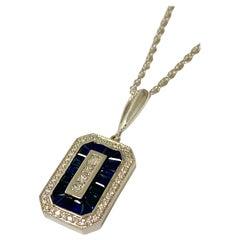 14 Karat White Gold 1.08 Carat Sapphire and 0.33 Carat Diamond Necklace