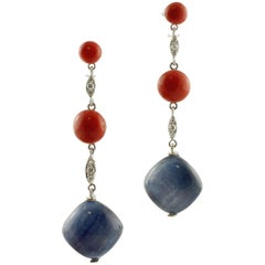 Tanzanite, Red Coral Spheres, Diamonds, White Gold Fashion Dangle Earrings