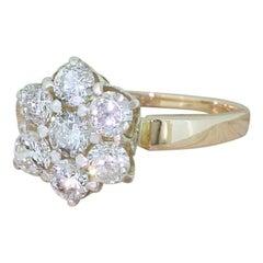 Midcentury 1.20 Carat Round Brilliant Cut Diamond Cluster Ring