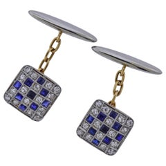 Art Deco Diamond Sapphire Gold Classic Cufflinks