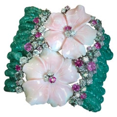 Charm Bracelet Pink Shell Flowers Emerald Beads Threads Sapphires
