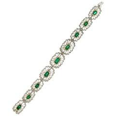Colombian Emeralds, 18 Karat White Gold, Diamonds, Cuff Bracelet