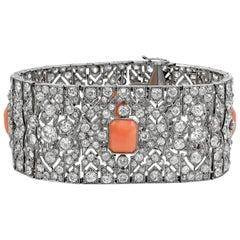 Art Deco Platinum Diamond and Coral Bracelet