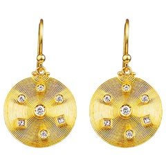 24K Gold Handcrafted Dangle Earrings Adorned with Diamonds