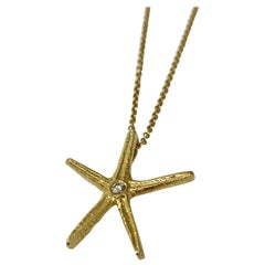 Cherie Dori 14 Karat Yellow Gold 0.05 Carat Diamond Starfish Necklace