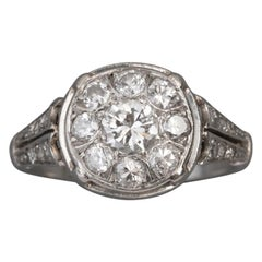 French Art Deco Ring, Platinum and Diamonds