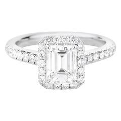GIA Certified White Gold Emerald Cut Diamond Ring with a Halo, 1.62 Carat