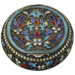 Fabergé 'Hjalmar Armfelt - ЯА' Russian Silver and Cloisonne Enamel Pill Box