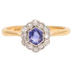 Art Deco Hexagonal Sapphire Diamond Cluster Ring