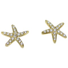 Cherie Dori 14 Karat Yellow Gold 0.15 Carat Round Diamond Starfish Stud Earrings