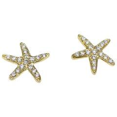Cherie Dori 14 Karat Yellow Gold 0.15 Carat Round Diamond Starfish Stud Earrings