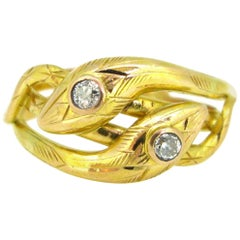 Victorian Diamonds Yellow Gold Snake Ring