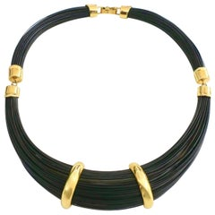 1970s Elephant Hair and Gold Necklace
