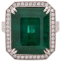 Fine Natural Emerald and Diamond Ring 12.42 Carat in Platinum