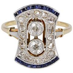 Diamond Sapphire Platinum 18 Karat Gold Rare Ring