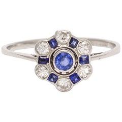 Art Deco Blue Sapphire Diamond Cluster Ring