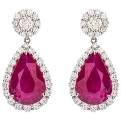 Fine Pair of Ruby and Diamond Pendant Earrings