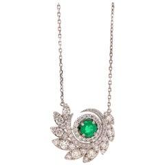 0.61 Carat Emerald and Diamond Necklace
