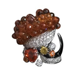 Cocktail Ring Orange Fire Opal Orange Sapphires Diamonds Yellow Sapphires