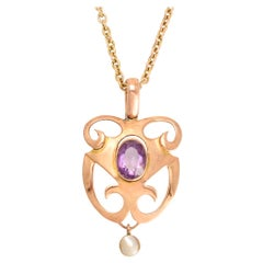 Antique Art Nouveau Amethyst Pearl Pendant Necklace
