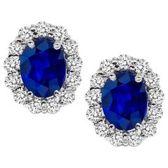 Blue Sapphire Diamond White Gold Halo Earrings