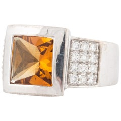Citrine and Diamond Ring in Platinum