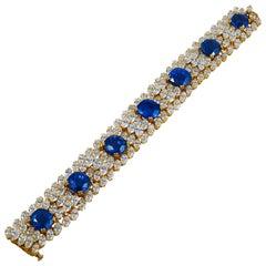 Cartier Diamond, Ceylon Sapphire Bracelet