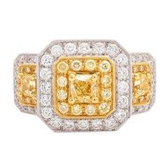 Fine Yellow Diamond and Diamond Ring
