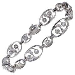 Stunning French 5.20 Carat Diamond Platinum Rare Bracelet