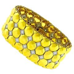 Vintage Diamond Yellow and White Gold Geometric Bracelet