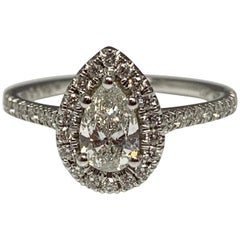 14 Karat White Gold Martin Flyer 1/2 Carat Pear Brilliant Diamond Ring