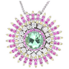 2.18 Carat Green Tourmaline, Multicolor Sapphire and Diamond Pendant