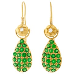 Demantoid Garnet and Diamond Set Gold Earrings