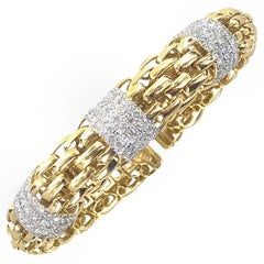 Diamond 18 Karat Yellow Gold Woven Link Cuff Bracelet Signed Ivan
