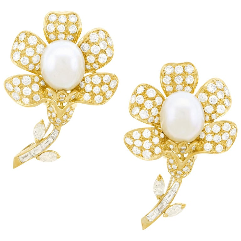 Magnificent Pair of Pearl and Diamond set Gold Flower Brooches For Sale