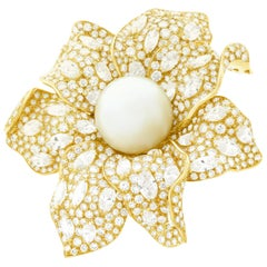 Magnificent Pearl and Diamond Set Gold Flower Brooch
